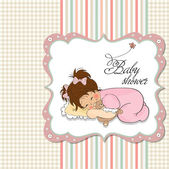 Baby shower invitation with sleeping girl — Stock vektor