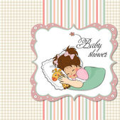 Baby shower invitation with sleeping girl — Stok Vektör