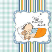 Baby shower invitation with sleeping boy — Vecteur