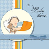 Baby shower invitation with sleeping boy — Stok Vektör