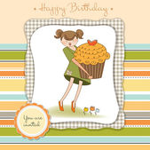 Baby announcement card with girl holding cupcake — Stock Vector