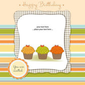 Baby announcement card with cupcakes — Stock Vector