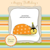 Baby announcement card with ladybug — Stock Vector