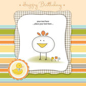 Baby announcement card with bird — Stock Vector