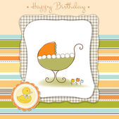 Baby announcement card with baby carriage — Stock Vector