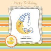 Baby announcement card with baby — Stock Vector