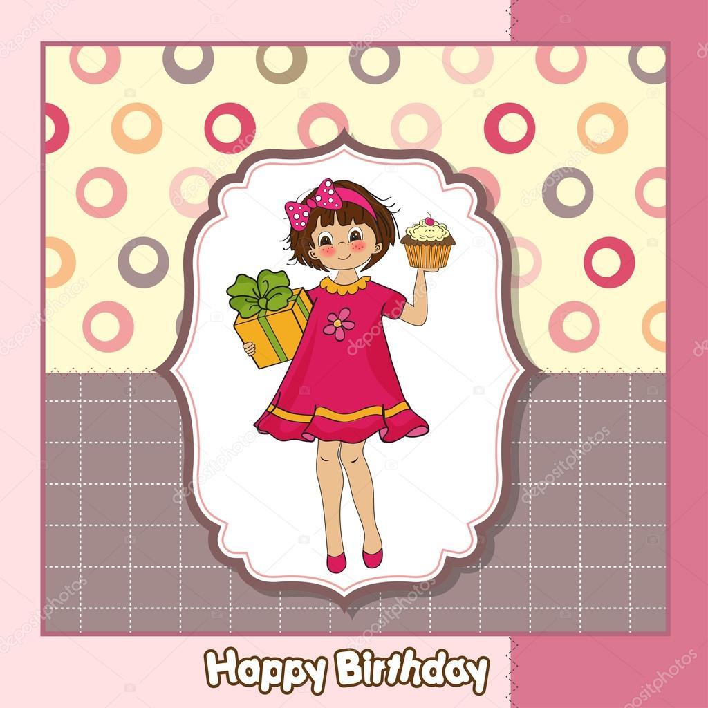 Happy Birthday card with funny girl Vector – Funny Girl Birthday Cards
