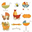 New baby items set — Stock Vector