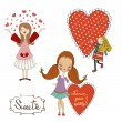 Three girls in love — Stock Vector #37862221