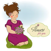 Girl with a bouquet of flowers. — Stock Vector