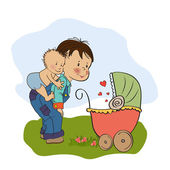 Little boy and his baby brother — Stock Vector