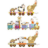 Funny toys train set — Stock Vector
