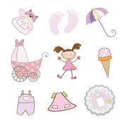 Baby girl items set isolated on white background — Stock Vector