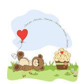 Valentine's Day card with teddy bear — Stock Vector