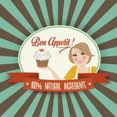 Rétro bon appetit message — Vecteur