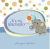 Card with elephant and balloons — Stock Vector