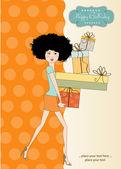 Damen med armarna fulla av gåvor — Stockvektor