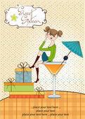 Jeune fille assise sur le verre — Vecteur