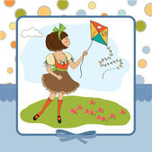 Playing with a kite — Stock Vector