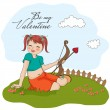 Girl with cupid bow. — Stock Vector