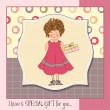 Vector de stock : Girl hide gift