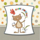 与有趣的猫的生日贺卡 — 图库矢量图片