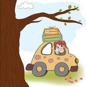 Woman holiday by car — Stockvektor