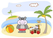 Hippo play on the beach — Stock Vector