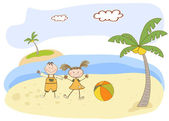Two kids play on the beach — Stock Vector