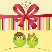 Coppia di uccelli in amore — Vettoriale Stock