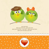 Birds couple in love — Vettoriale Stock