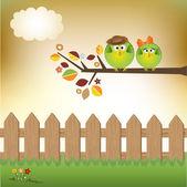 влюбленная пара птиц — Cтоковый вектор