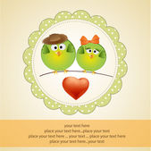 Birds couple in love — Vector de stock