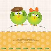 Pareja de aves en el amor — Vector de stock