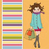 Woman at shopping — Stock Vector