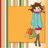 Woman at shopping — Stock Vector