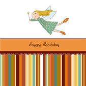 Tarjeta de cumpleaños pequeña hada — Vector de stock