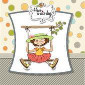 Girl in a swing — Stock Vector