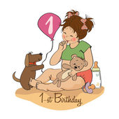 Girl at her first birthday — Stock Vector