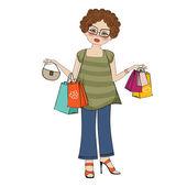 Filles au shopping — Vecteur