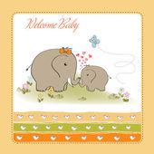 Baby elephant and his mother — Stock Vector