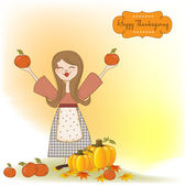 Autumn girl with apples and pumpkins — Stock Vector