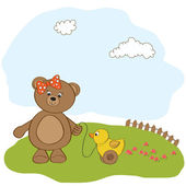 Girl teddy bear and her duck — Stock Vector