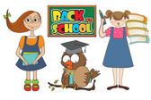 Conjunto de duas meninas felizes na escola — Vetorial Stock