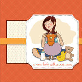 Pregnant woman card — Stock Vector