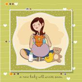 Hamile kadın kart — Stok Vektör