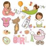 Baby girl shower elements — Stock Vector #38113979