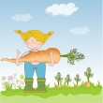 Gardener to harvest carrots — Stock Vector