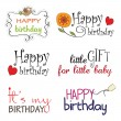 Happy birthday texts — Stock Vector