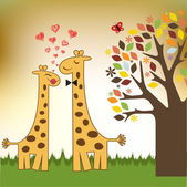 Giraffe couple — Vector de stock